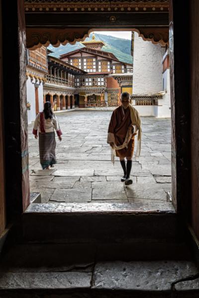 Porte de la cour du dzong de Paro, Bhoutan