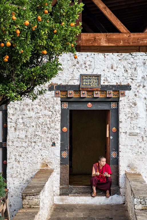 Moine assis devant un bâtiment annexe au dzong de Paro, Bhoutan