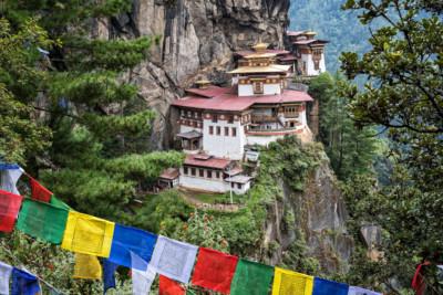 Le monastère bouddhiste de Taktshang au-dessus d'une falaise, Bhoutan