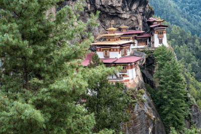 Falaise et forêt au monastère de Taktshang, Bhoutan