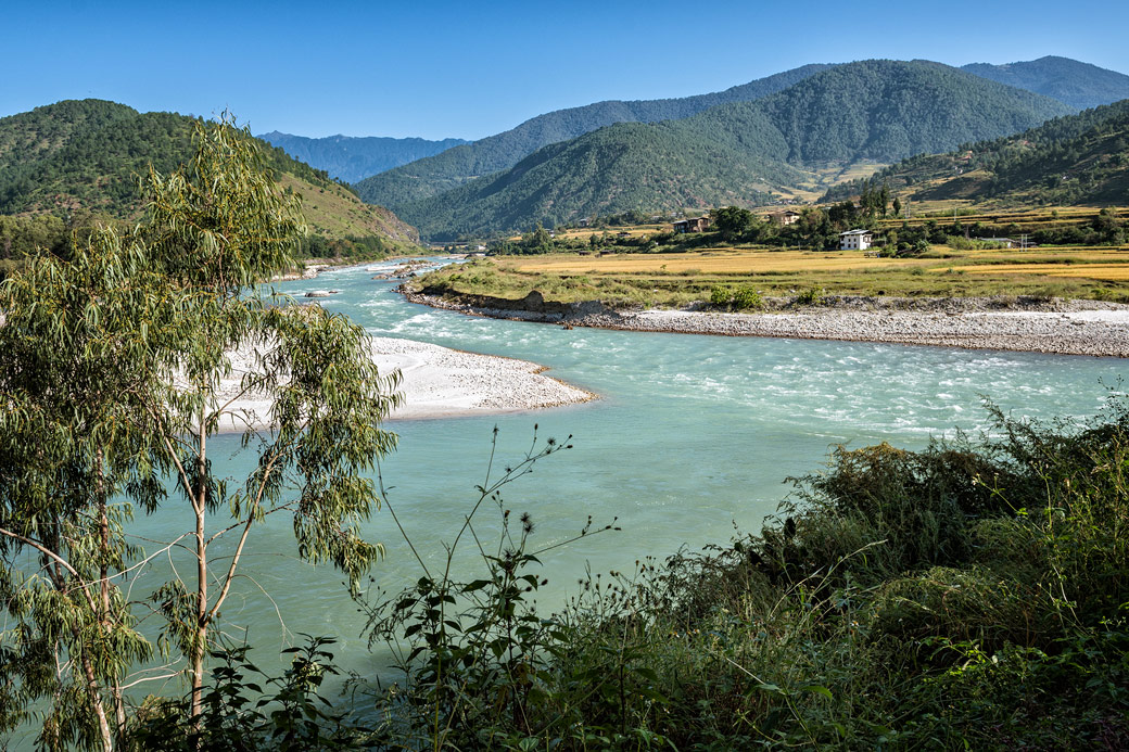 Confluence des rivières Mo Chhu et Pho Chhu à Punakha, Bhoutan