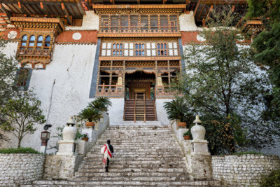 Façade et escaliers du dzong de Punakha, Bhoutan