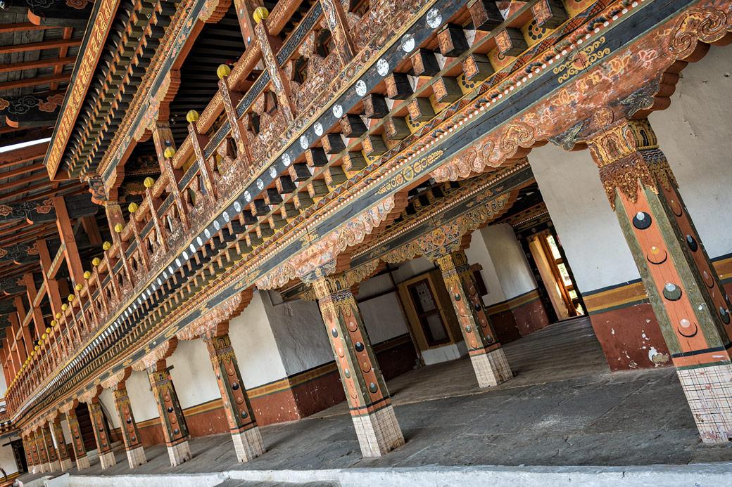 Architecture richement décorée du dzong de Punakha, Bhoutan