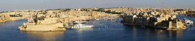 Panorama sur Isla et Birgu depuis La Valette, Malte