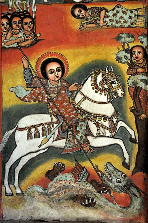 Peinture murale de St George et le Dragon, Ethiopie