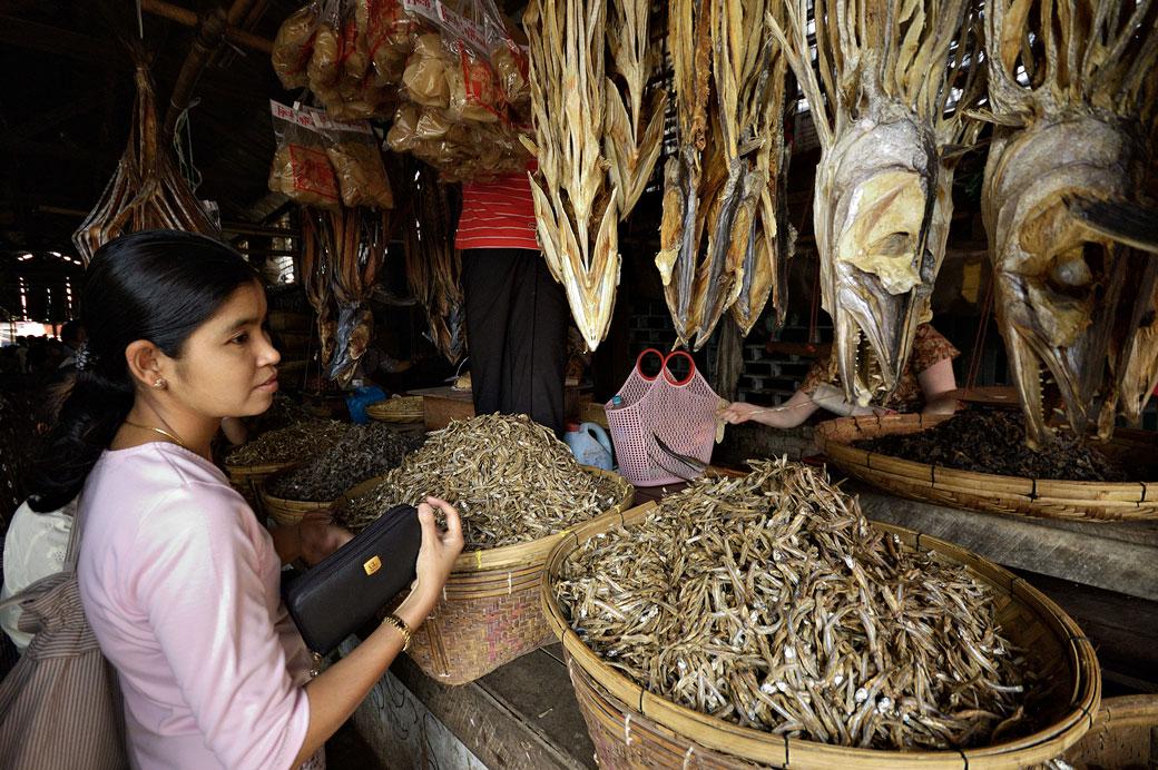 Jeune femme au marché aux poissons de Sittwe, Birmanie