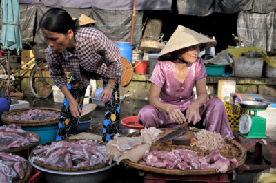 Viande et poisson au marché de Dong Ba à Hué, Vietnam