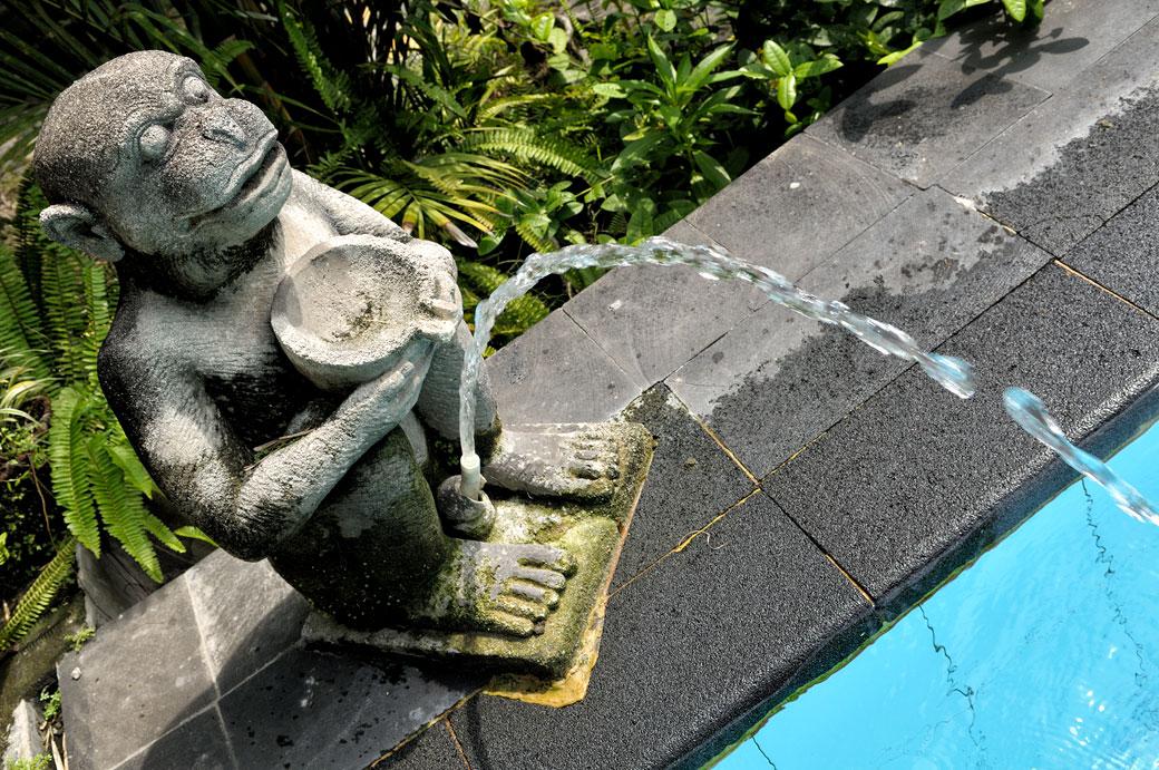 Statue de singe au bord d'une piscine à Yogyakarta, Indonésie