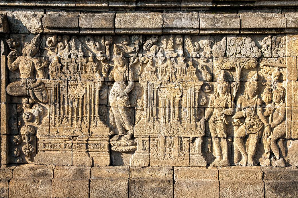 Bas-reliefs au Temple bouddhiste de Borobudur, Indonésie