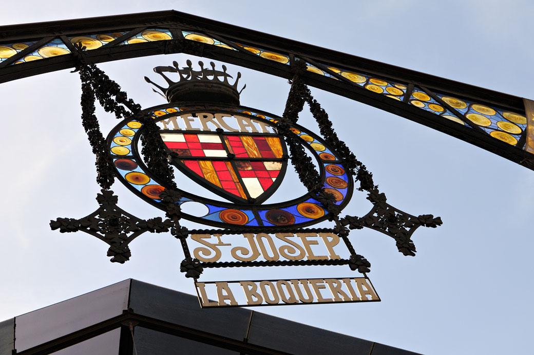 Insigne du marché St Josep La Boqueria à Barcelone