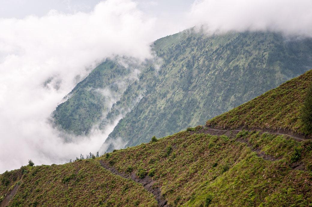 Brume et montagnes près de Cemoro Lawang, Indonésie