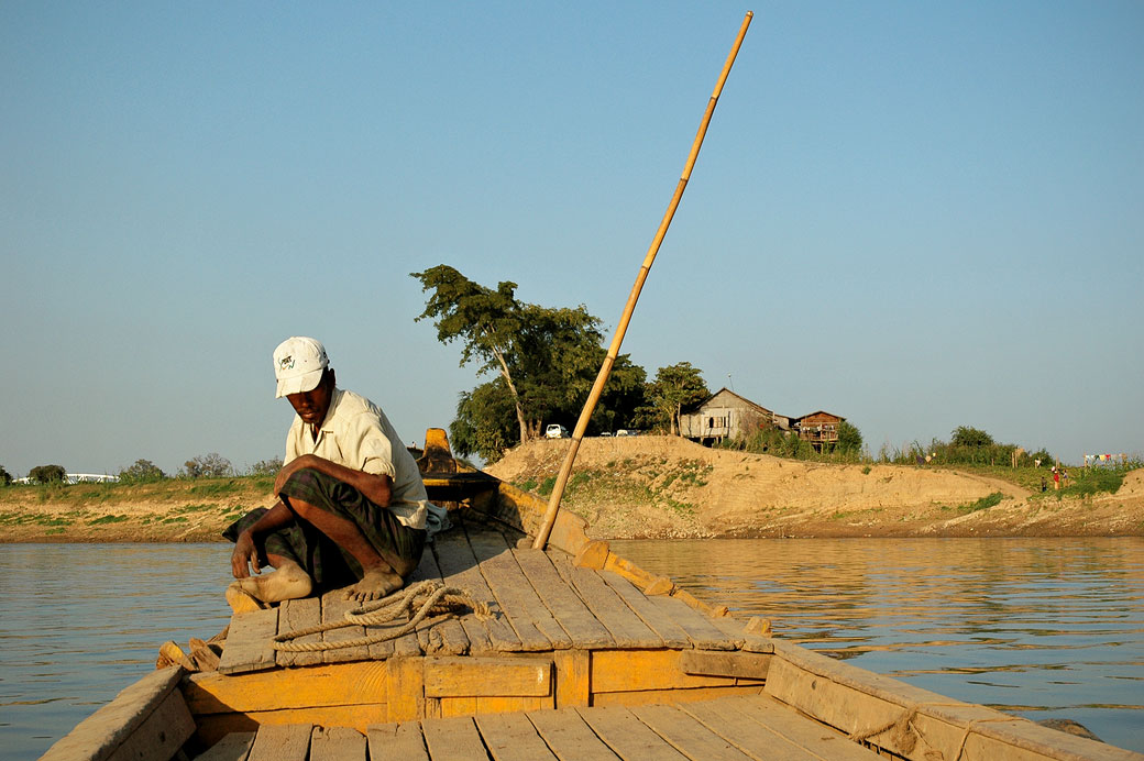 Traversée de la rivière à Inwa (Ava), Birmanie