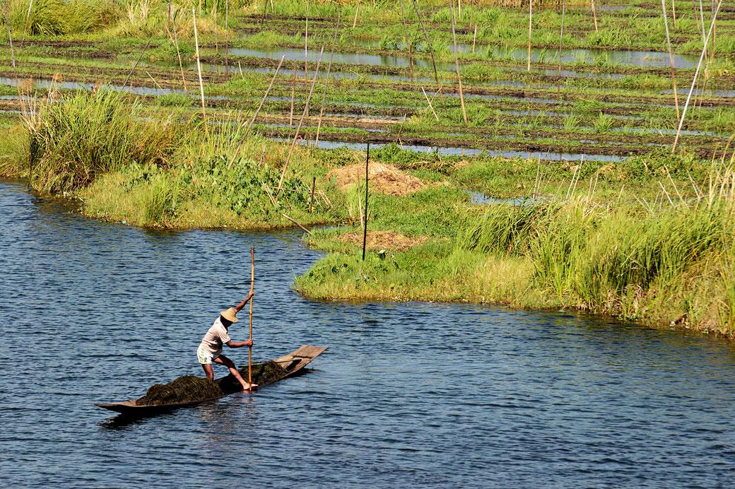 Homme au travail sur le lac Inle, Birmanie