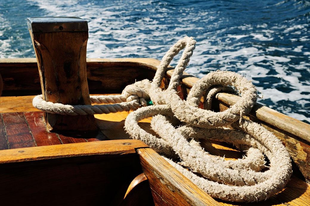 Corde sur un bateau à Mljet, Croatie