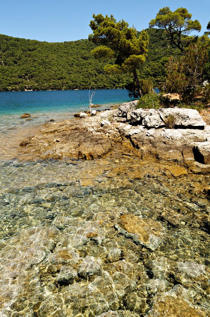 Petite plage rocheuse au bord du lac salé à Mljet, Croatie