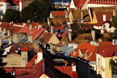 Toits rouges et cheminées de la vieille ville de Tallinn, Estonie