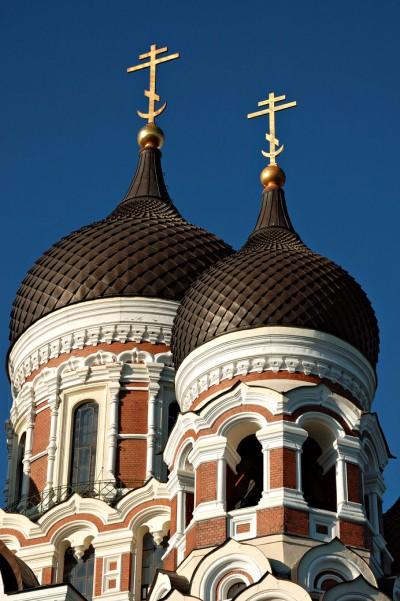 Coupoles de la cathédrale orthodoxe Alexandre Nevsky à Tallinn, Estonie