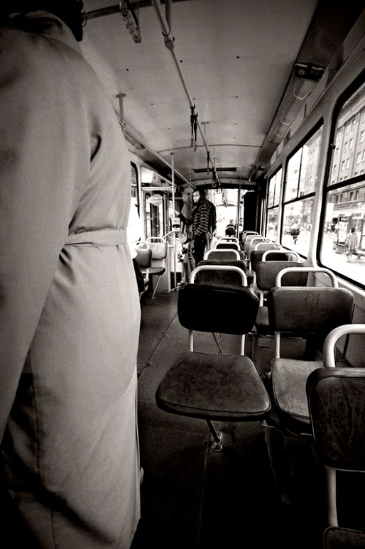 A l'intérieur d'un vieux tramway de Tallinn, Estonie