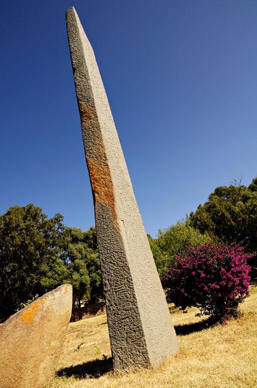 Stèle pointée vers le ciel à Aksoum dans le Tigray, Ethiopie