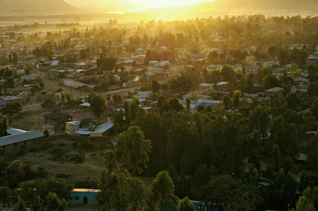 Coucher de soleil à Aksoum dans le Tigray, Ethiopie