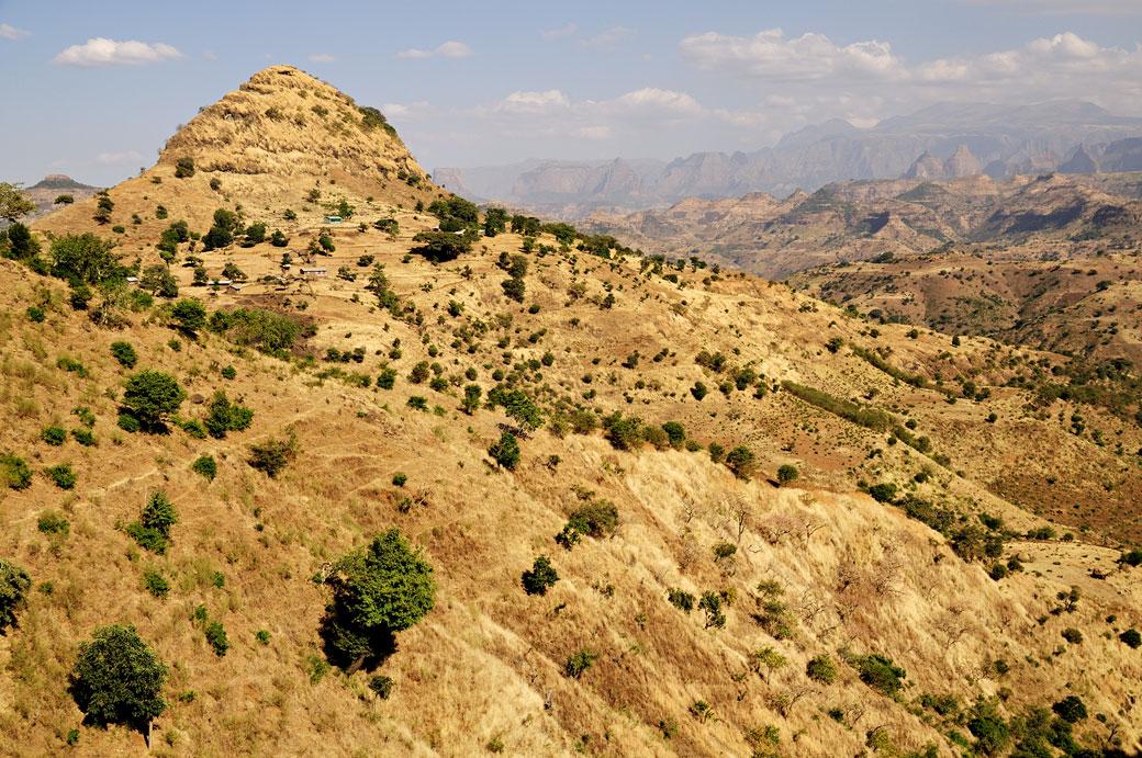 Paysage vallonné dans la région Amhara, Ethiopie