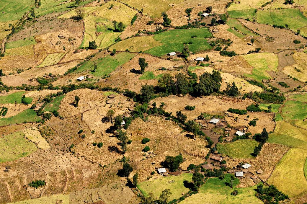 Paysage rural vue du ciel, Ethiopie