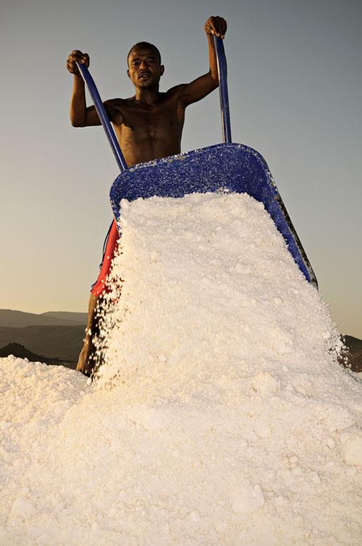 Brouette remplie de sel dans les salines d'Afdera, Ethiopie