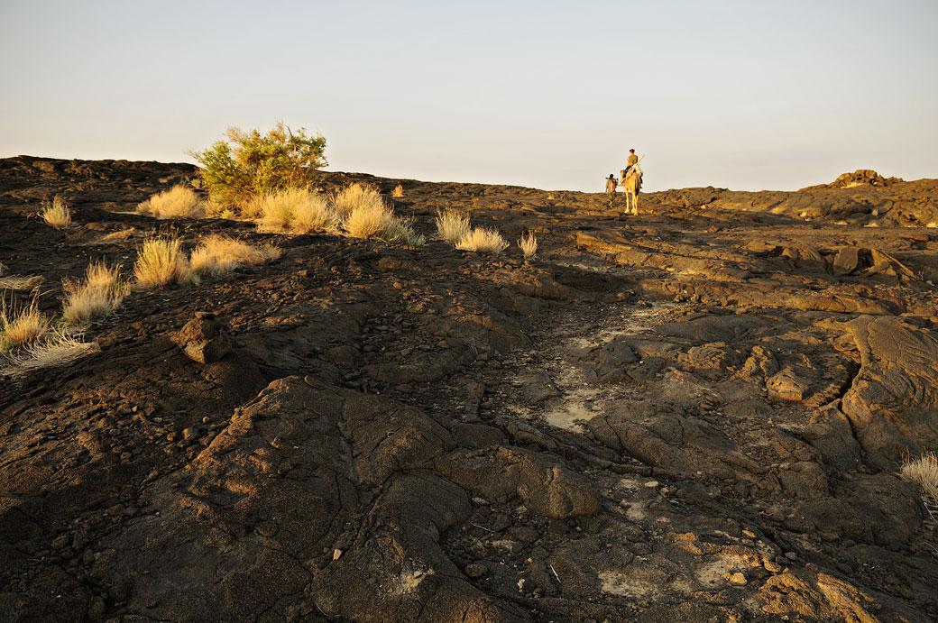 Chemin de lave sur le volcan Erta Ale, Ethiopie