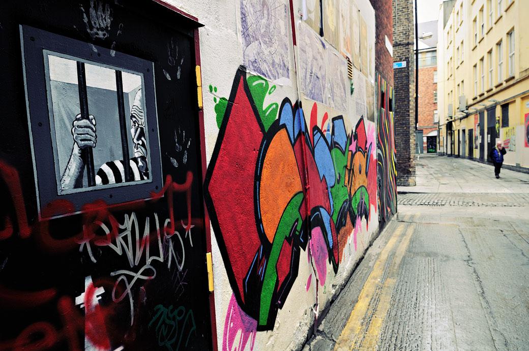 Graffiti dans le quartier de Temple Bar à Dublin, Irlande