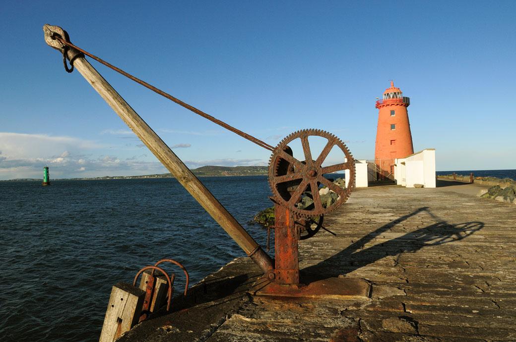 Phare de Poolbeg dans la baie de Dublin, Irlande