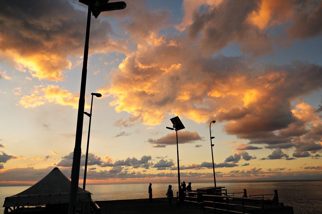 Ciel nuageux sur l'île de Stromboli en Sicile, Italie