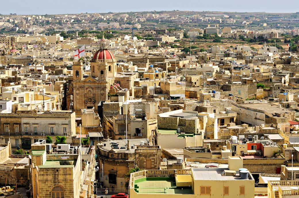 Toits de Victoria à Gozo vue depuis la citadelle, Malte