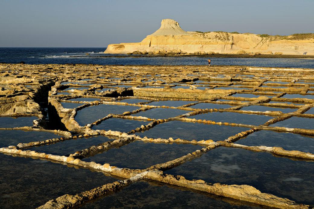 Marais salants au nord de Gozo, Malte