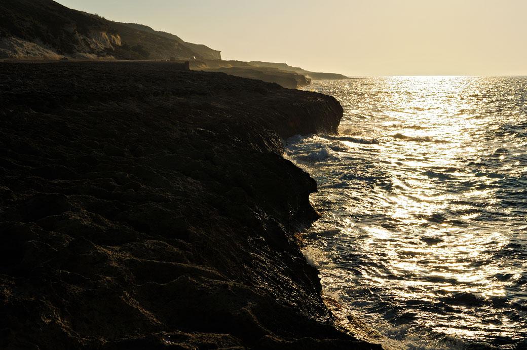 Côte nord de Gozo au coucher du soleil, Malte