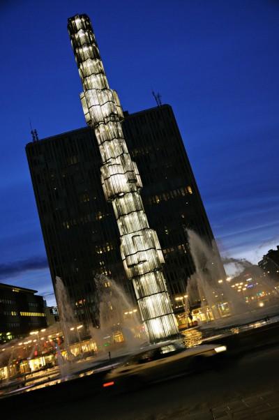 Kristallvertikalaccent de nuit à l'heure bleue à Stockholm, Suède