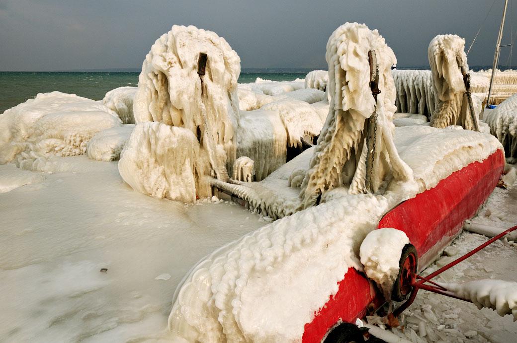 Sculptures de glace au port Choiseul de Versoix, Suisse