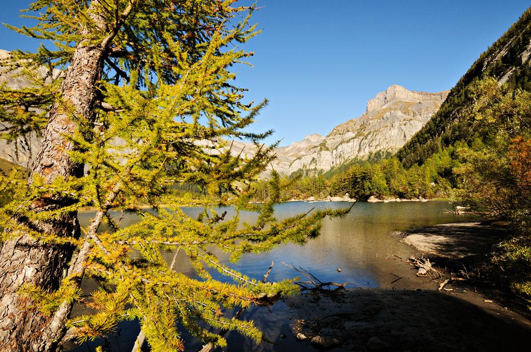 Lac de Derborence en automne dans le canton du Valais, Suisse