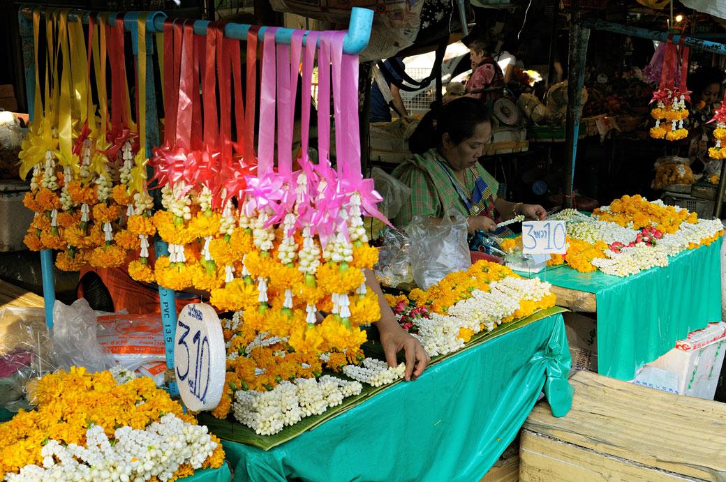 Fleurs au Pak Khlong Talat de Bangkok, Thaïlande