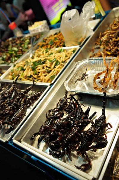 Scorpions et insectes grillés sur Khao San Road à Bangkok, Thaïlande