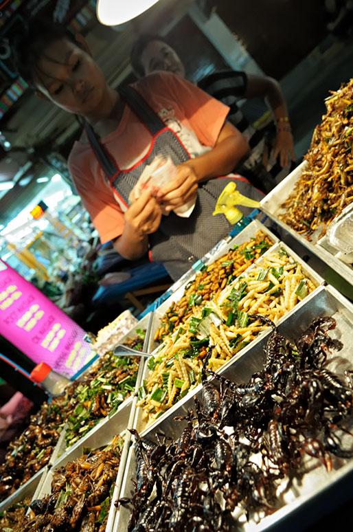 Vendeuse d'insectes grillés sur Khao San Road à Bangkok, Thaïlande