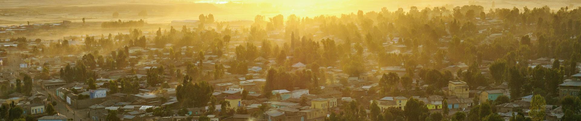 Top image coucher de soleil sur Aksoum, Ethiopie