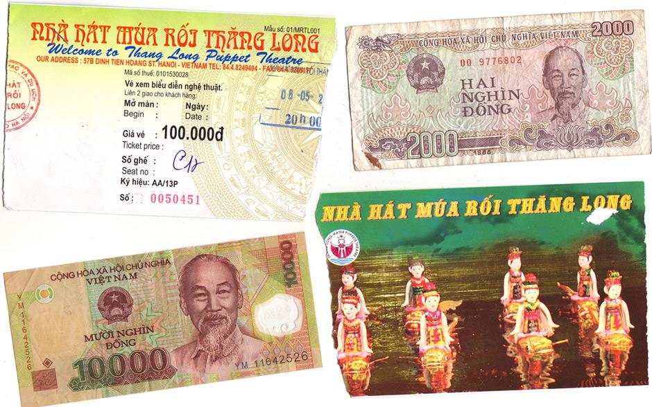 Ticket du Thang Long Theatre et Dongs Vietnamiens