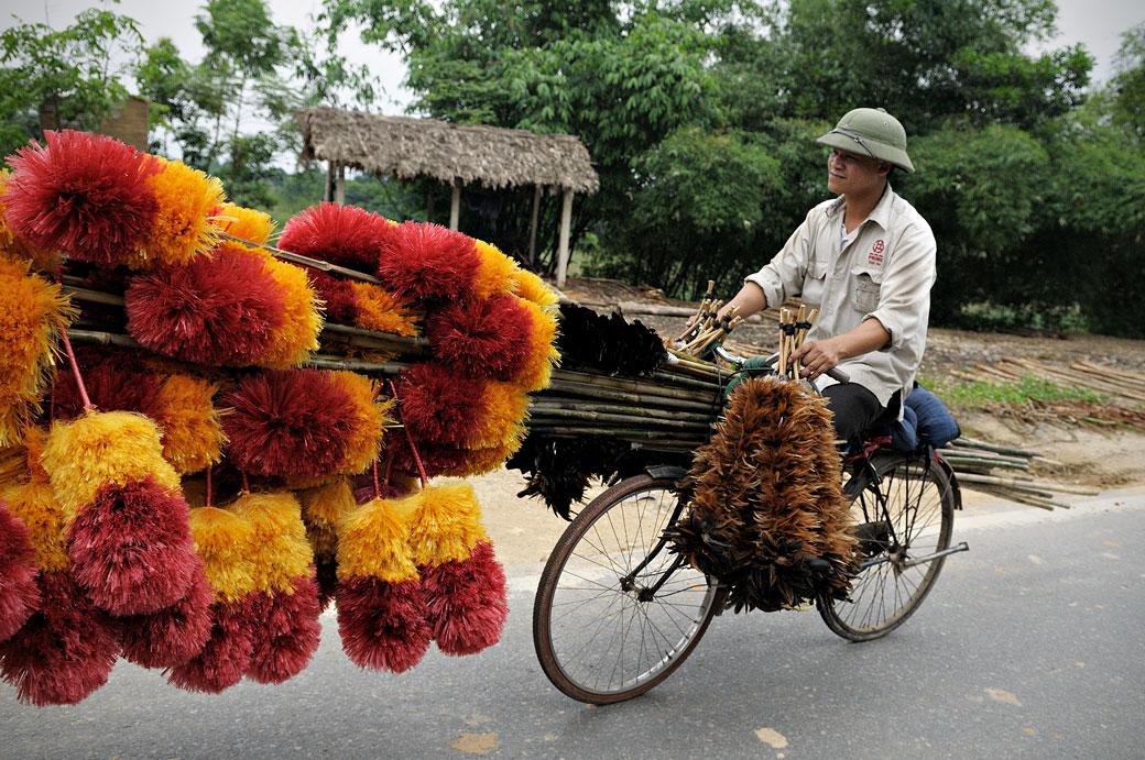 Homme chargé de plumeaux sur un vélo, Vietnam